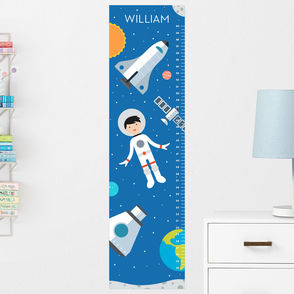 Spaceboy Growth Chart Wall Decal (Personalized)