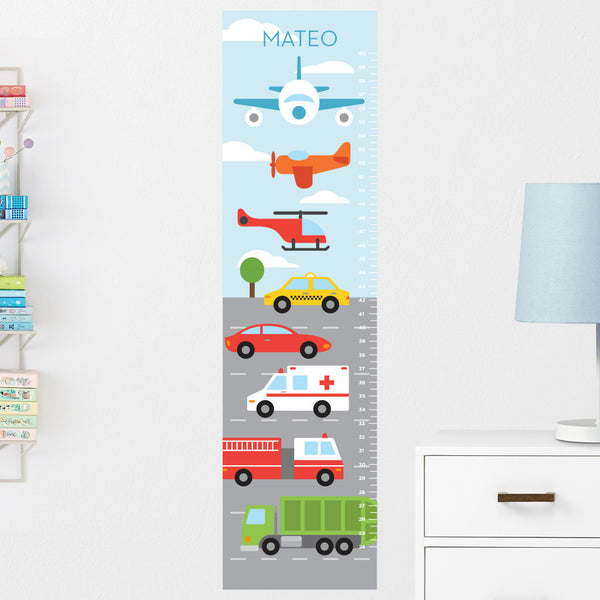 Transportation Vehicles Growth Chart Wall Decal (Personalized)