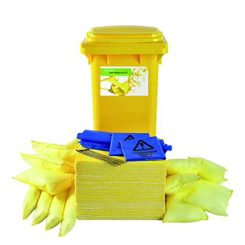 "Chemical ""Sustainable"" Spill Kit Yellow 2 Wheel PE Bin"
