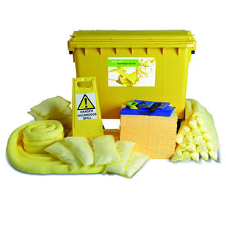 Chemical Spill Kit Yellow 4 Wheel PE Bin 600ltr
