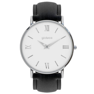 silver white face black leather strap