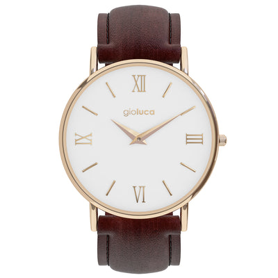 Rose Gold White Face Brown Leather band
