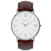 silver white face brown leather strap