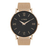 Rose Gold black face stainless steel mesh band