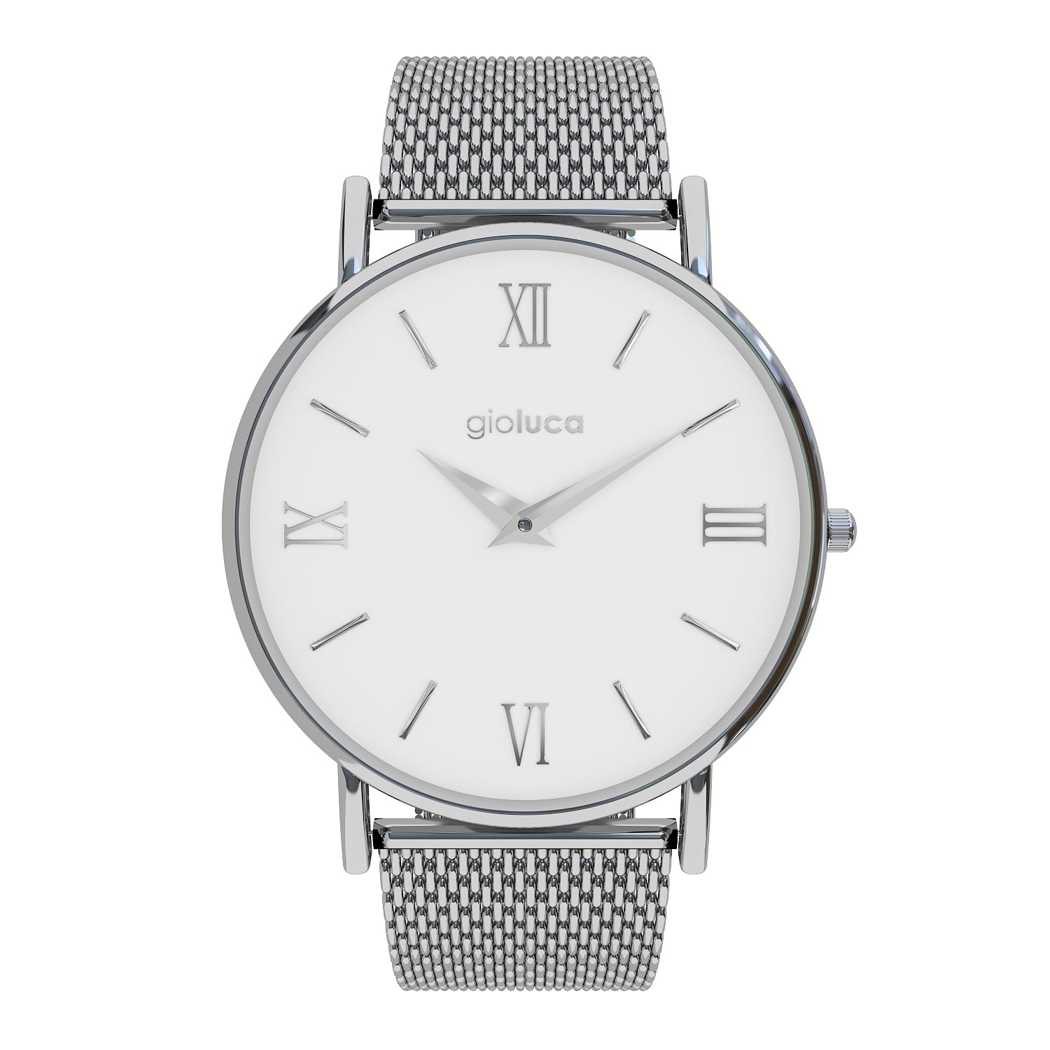 silver white face stainless steel mesh strap