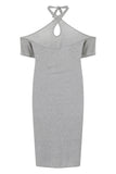 Grey Jersey Halter Dress