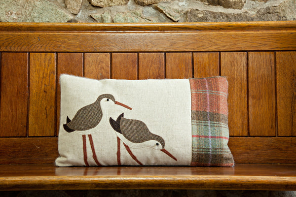 Handmade Autumn Dunlin seabird cushion