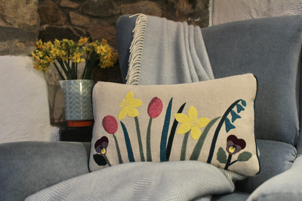 Handmade spring flower cushion