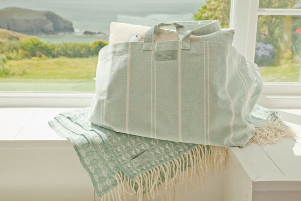 Blue Stripe Cotton Beach Bag / Holdall