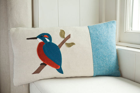 Handmade Kingfisher Cushion