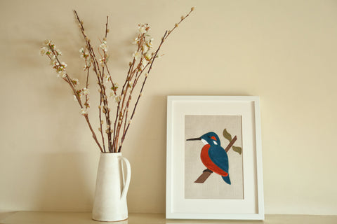 Handmade Framed Kingfisher Applique Picture
