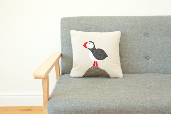 Handmade Square Puffin Cushion