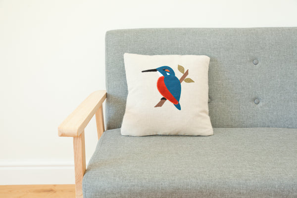 Handmade Square Kingfisher cushion