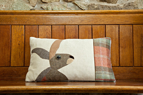 Handmade Autumn Hare cushion
