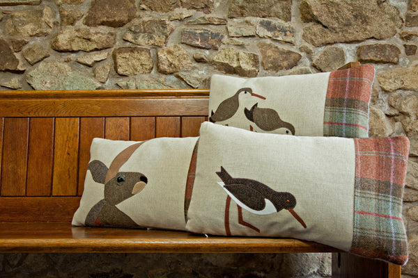 Handmade Autumn Oystercatcher cushion