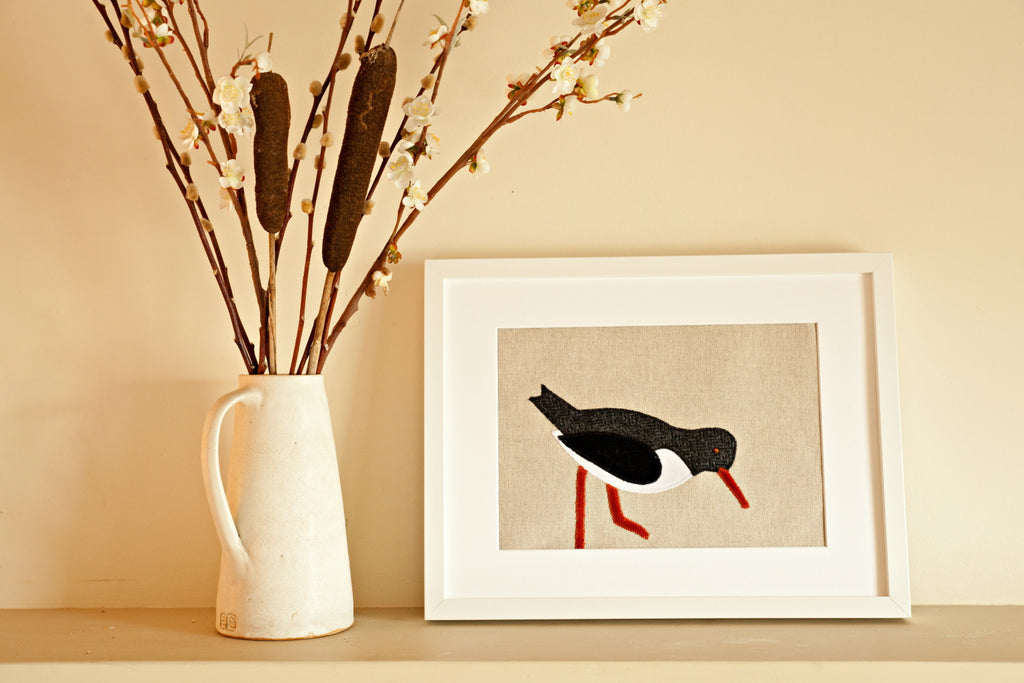 Handmade Framed Black Oystercatcher Applique Picture