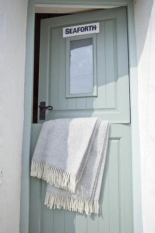 Welsh Woven Grey Woollen Throw