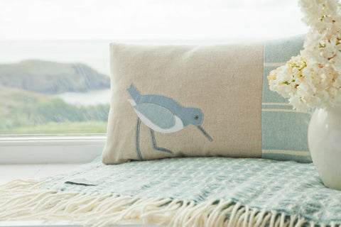 Handmade Blue Coastal Oystercatcher Cushion