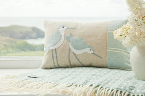 Handmade Blue Coastal Dunlin Cushion