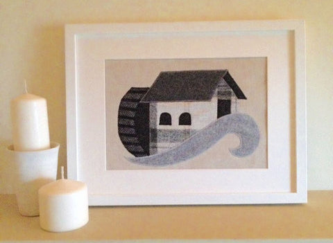 Handmade Framed Watermill Applique Picture