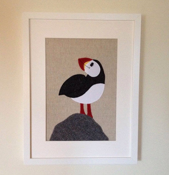 Handmade Framed Puffin Applique Picture