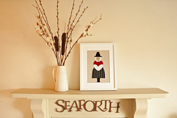 Handmade Framed Welsh Lady Applique Picture