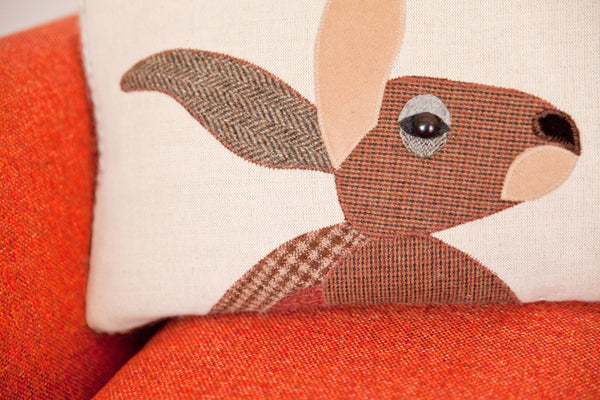 Handmade Hare Cushion in Mixed Tweeds and Welsh woven wools
