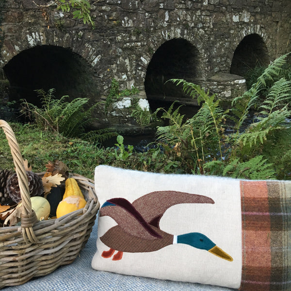 Handmade tweed duck cushion