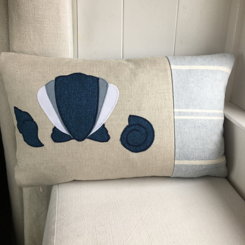 Handmade Seaside scallop shell cushion