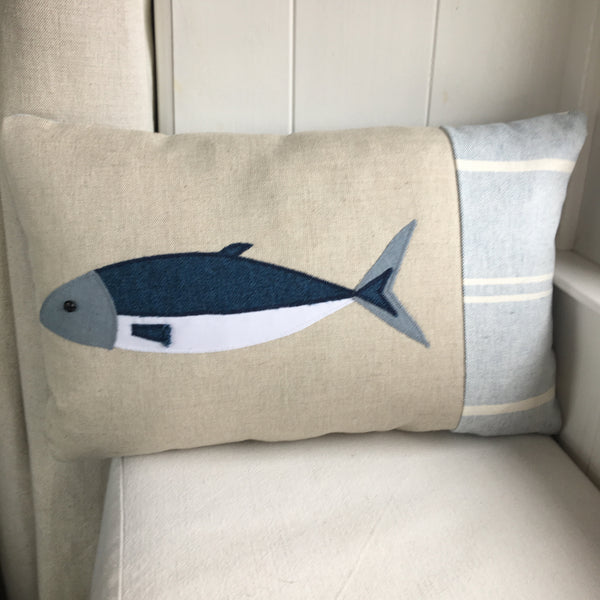 Handmade mackerel fish cushion