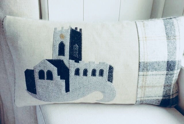 Handmade St Davids day Cathedral cushion
