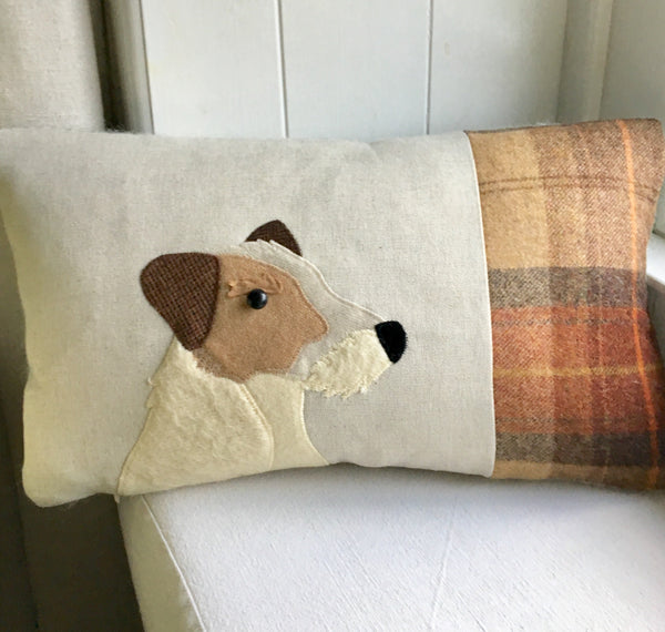 Handmade Jack Russell dog cushion