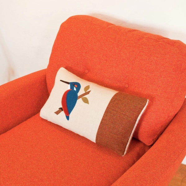 Handmade Kingfisher cushion autumn wool