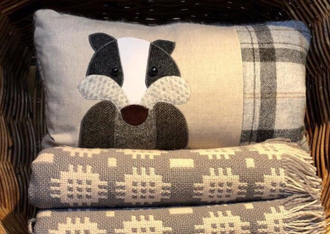 Handmade Badger Cushion in Linen and Mixed Tweeds