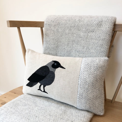 Handmade Jackdaw bird cushion