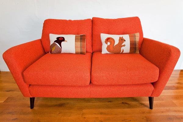Handmade Squirrel Cushion With Rust Velvet and Welsh Woven Wools