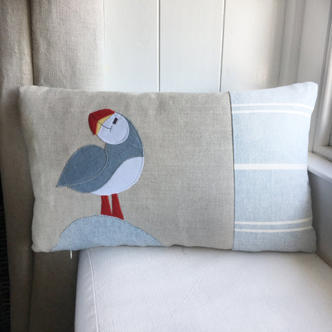 Handmade blue puffin cushion