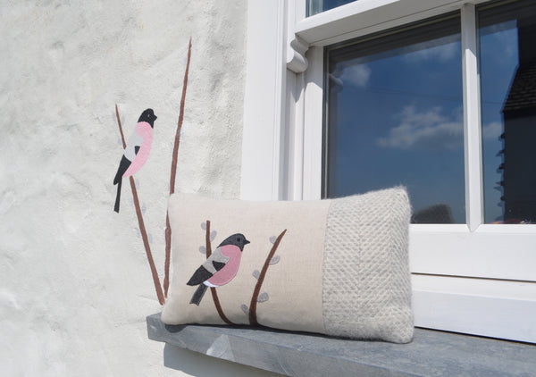 Handmade Bullfinch cushion