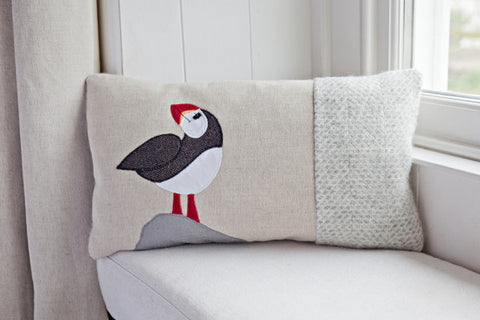Handmade Puffin Cushion