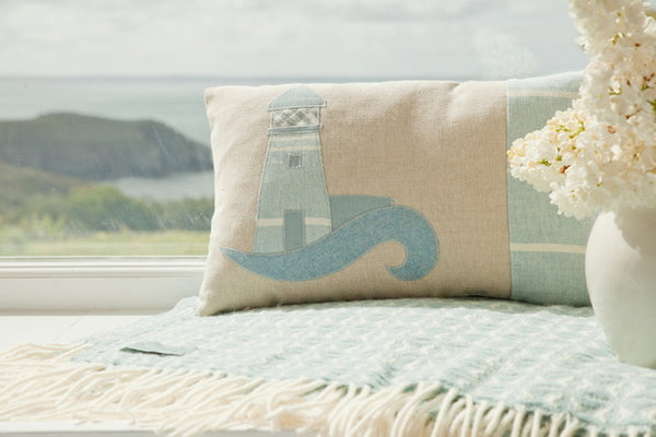 Handmade Blue Coastal Lighthouse Cushion