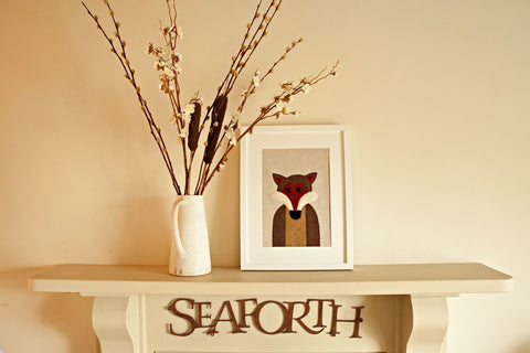 Handmade Framed Fox Applique Picture