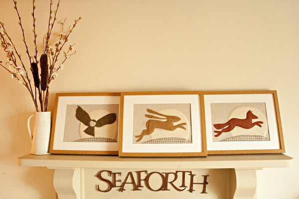 Handmade Framed Twilight Hare Applique Picture