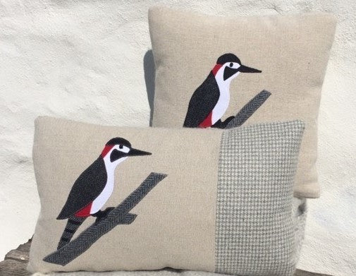Handmade Woodpecker cushion