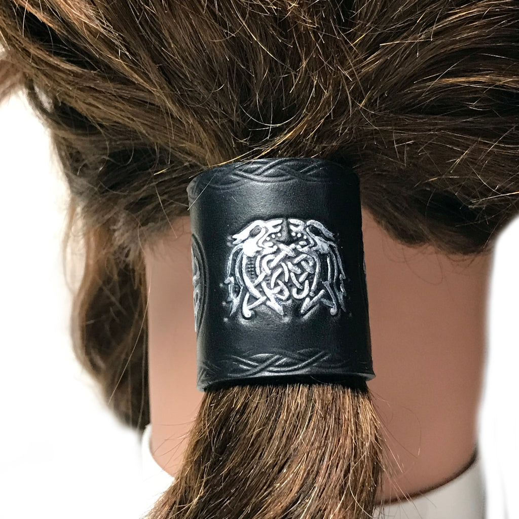Silver Celtic Knot Dragon Black Leather Hair Tie Ponytail