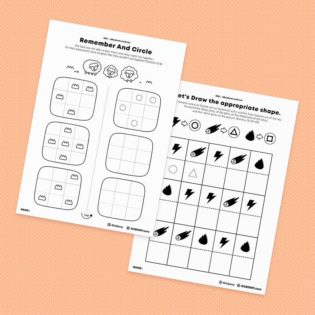 Abraham and Lot Bible lesson Activity Printables for kids