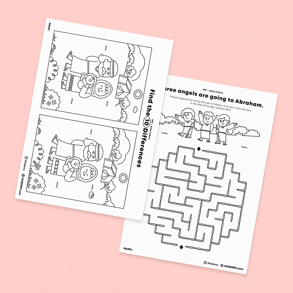 Isaac is Born Bible lesson Activity Printables for kids