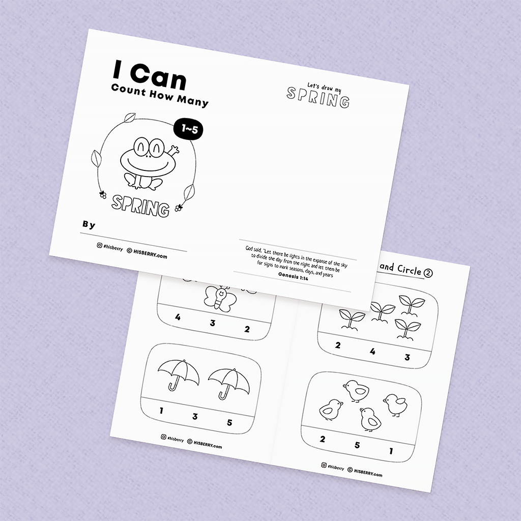 [Spring Math] Counting numbers 1-5 worksheets MiniBook