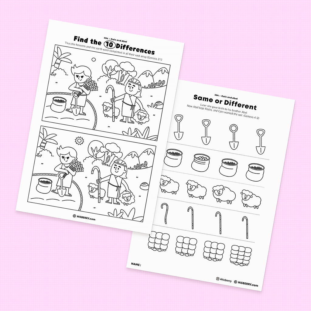 Cain and Abel  Bible lesson Activity Printables for kids