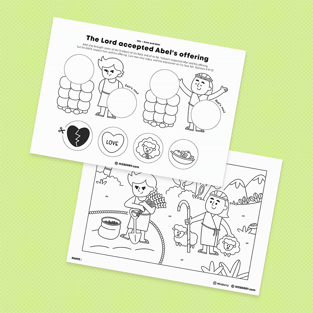 Cain and Abel - Bible Drawing & Coloring Pages for Kid Lesson