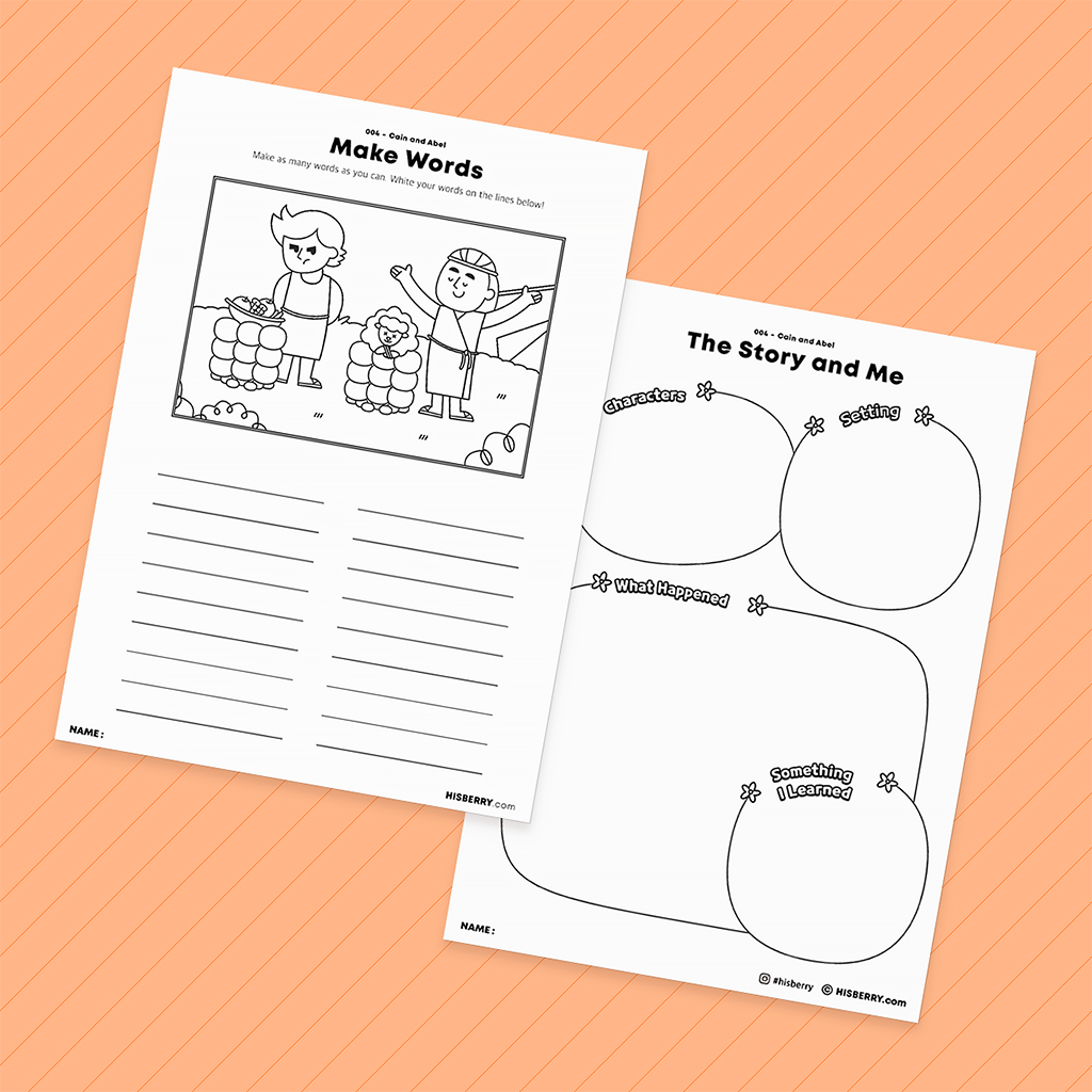 Cain and Abel- Bible Verse Worksheet Pack for Kid Lesson